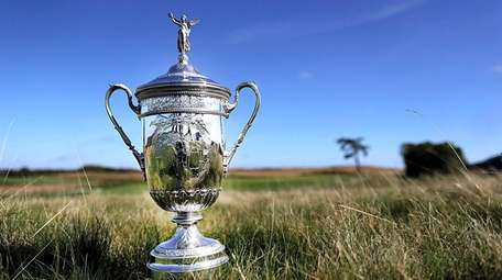 A view of the U.S. Open trophy in