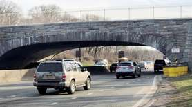 The overpass on the Southern State Parkway in