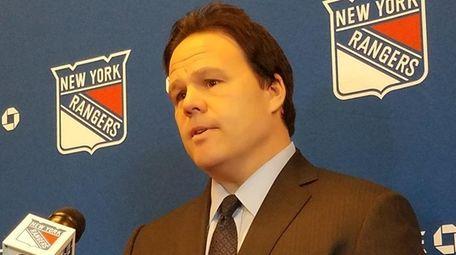 Rangers general manager Jeff Gorton addresses the media