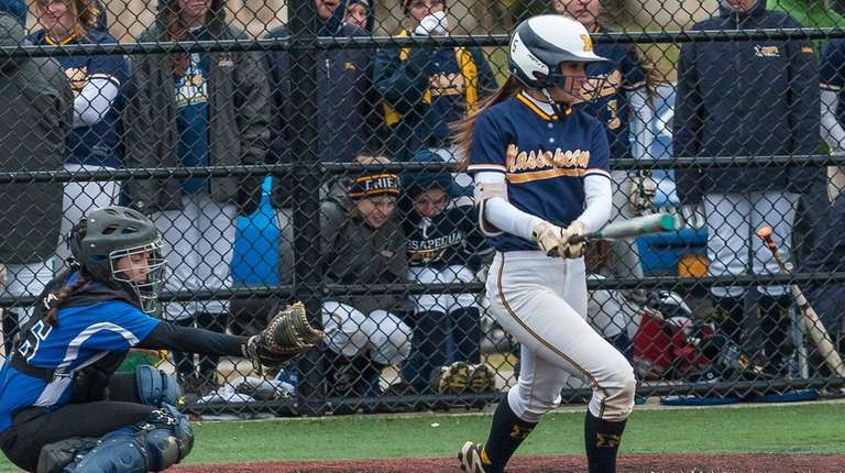 Massapequa's Jenna DeFina hits an inside-the-park home run
