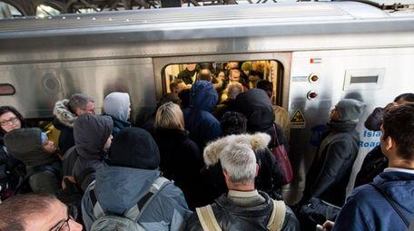 The morning rush at the Long Island Rail