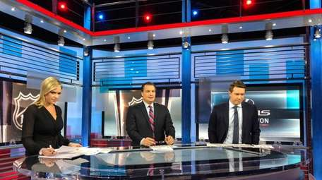 Ed Olczyk, center, returns to NBC Sports as