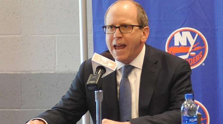 Islanders owner Jon Ledecky makes a prepared statement