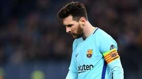 Lionel Messi of Barcelona reacts during the UEFA