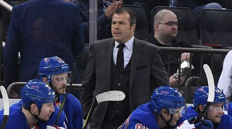 Rangers head coach Alain Vigneault watches action in
