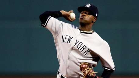 Luis Severino of the Yankees pitches against the