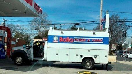 A Bolla maintenance truck outside the Exxon gas