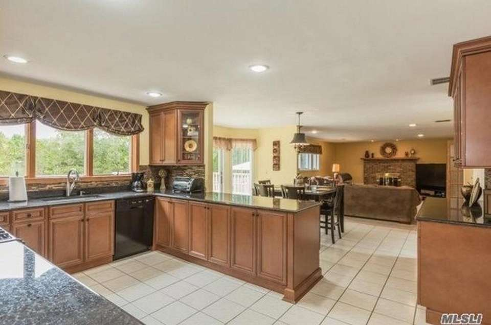Sliding glass doors off the dining area open