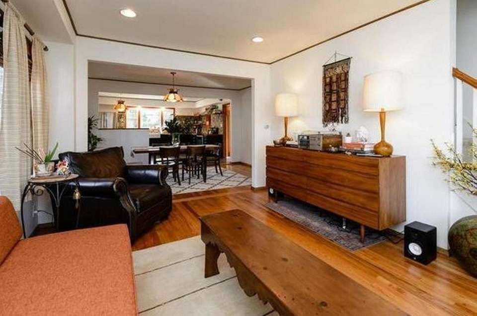 The open concept in this expanded-Cape includes a
