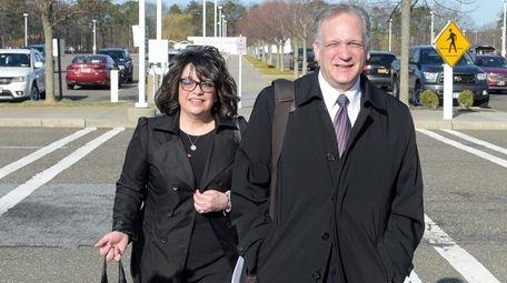 Linda and Edward Mangano arrive at the federal