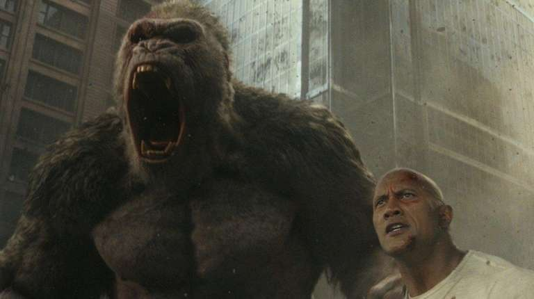 Dwayne Johnson stars with a CGI gorilla named