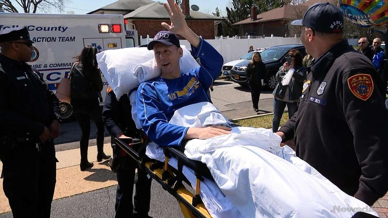 Dozens of Suffolk County police officers lined the