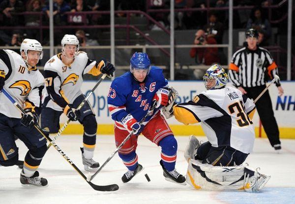 Buffalo Sabres goalie Ryan Miller (30) stops a