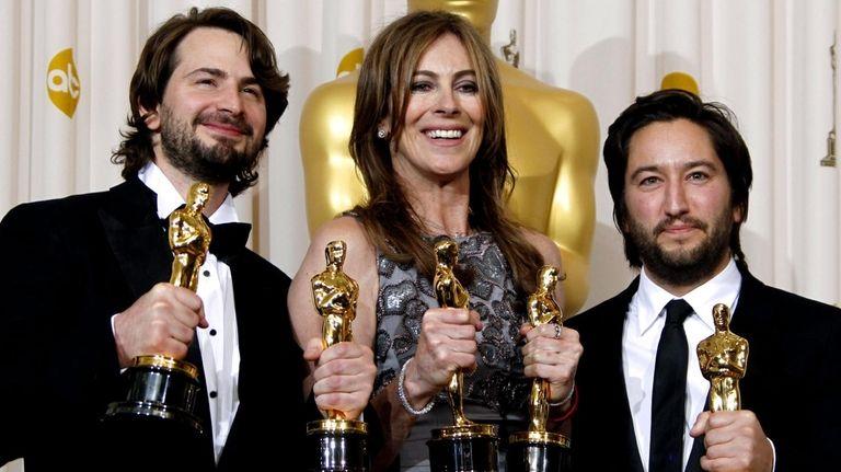 From left, screen writer Mark Boal, director Kathryn