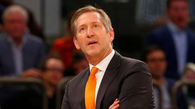 Jeff Hornacek of the Knicks looks on against