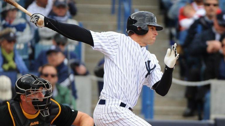 Brett Gardner bats against the Pittsburgh Pirates at