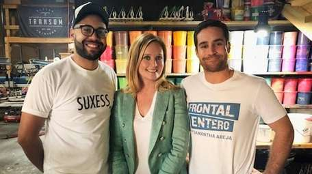 Samantha Bee with Luis Rodriguez and Eduardo Carbia,