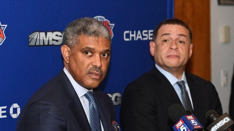 Knicks president Steve Mills, left, and GM Scott