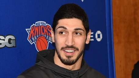 Enes Kanter of the Knicks speaks to the