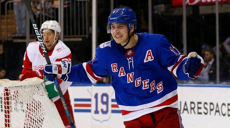Jesper Fast of the New York Rangers celebrates