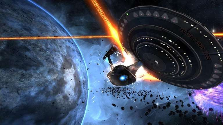 In Star Trek Online, a Federation spaceship narrowly