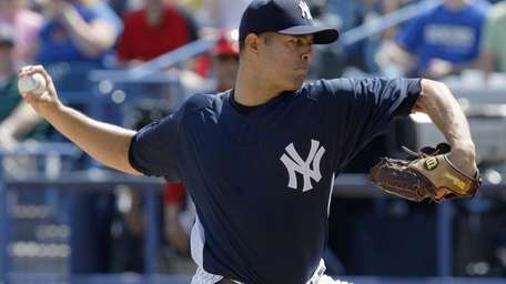 Yankees pitcher Javier Vazquez on the mound in