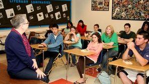 Wheatley High School teacher Faith Toperoff talks to