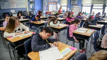 Fourth-graders at Holbrook Road Elementary School in Centereach,