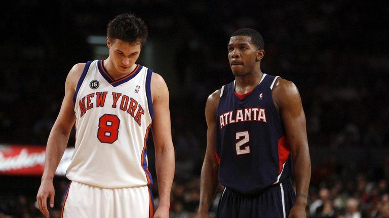 Before the Knicks' 99-98 win, Atlanta's Joe Johnson,