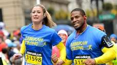 Boston Marathon bombing survivor Rebekah Gregory finishes the