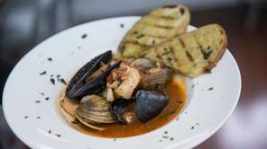 Seafood guazzetto, a brothy stew, is an appetizer