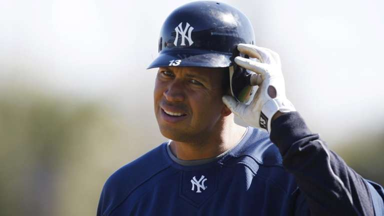 New York Yankees third baseman Alex Rodriguez removes