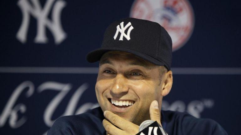 New York Yankees shortstop Derek Jeter smiles as
