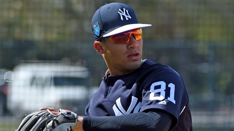 The Yankees' Gleyber Torres works out during spring