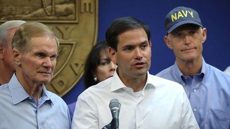 From left, Sen. Bill Nelson, Sen. Marco Rubio
