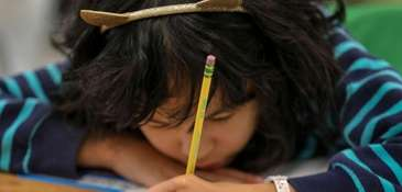 A third-grader at Holbrook Road School in Centereach