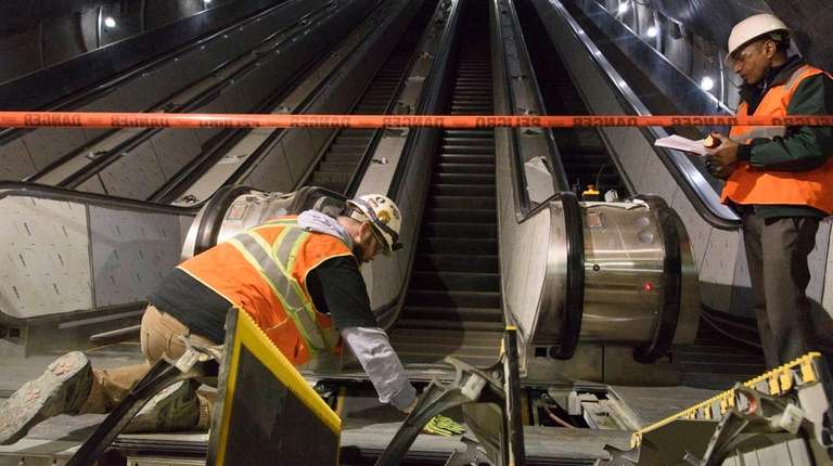 Work takes places on one of 47 escalators