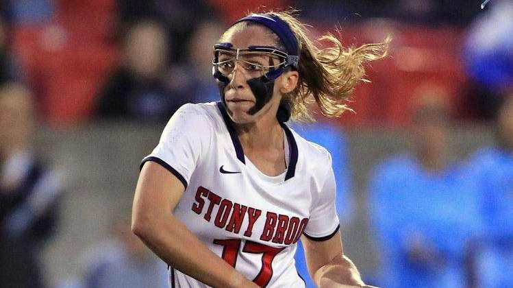 Stony Brook's Kylie Ohlmiller scores a goal on