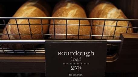 Loaves of sourdough bread, with a listing of