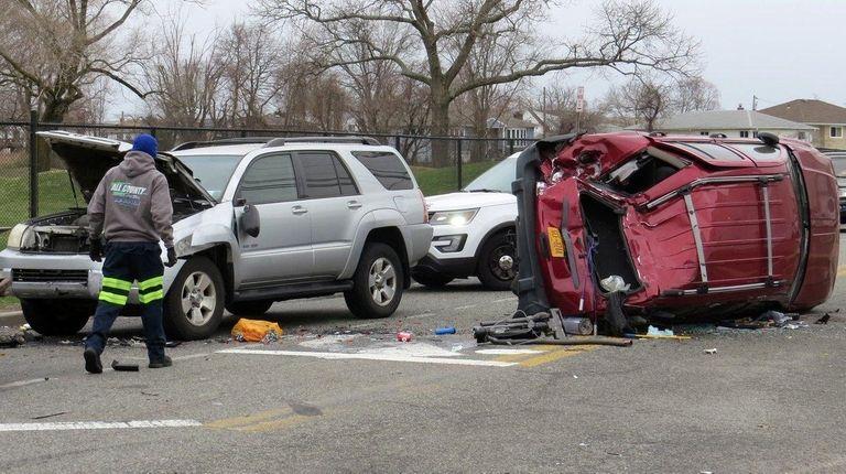 The scene of a crash on Sunday morning
