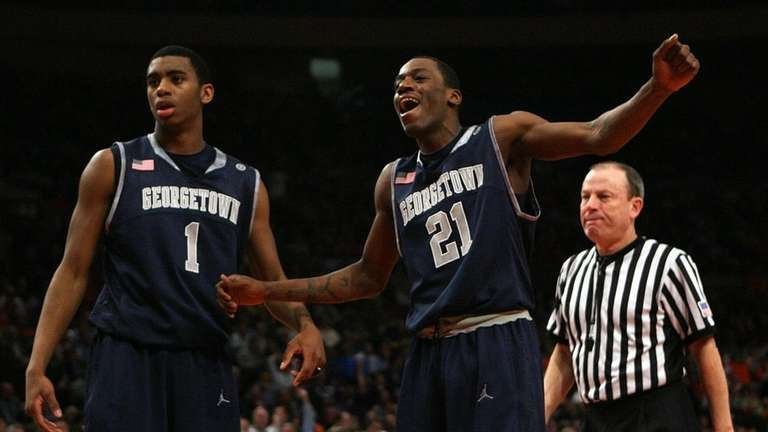 Georgetown's Jason Clark and Hollis Thompson celebrate after