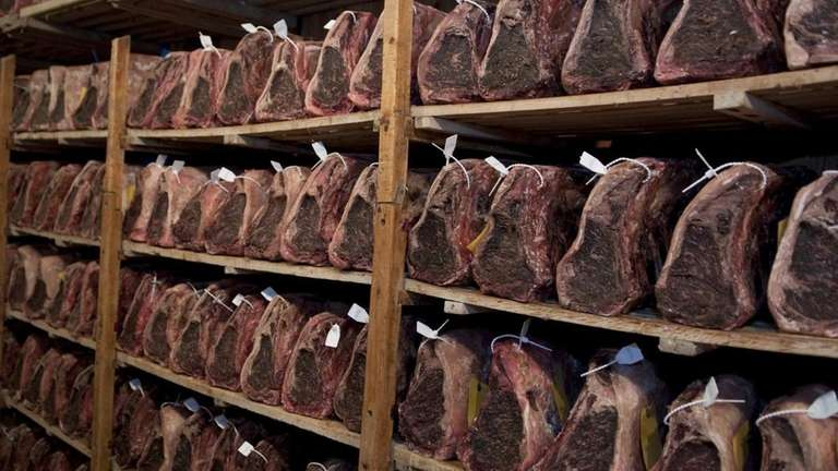 Cuts of prime beef are dry-aged for 21