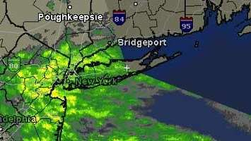Radar image shows light rain moving through Long