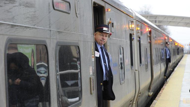 The LIRR train going to Penn station prepares
