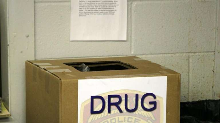 A Box used to collect unwanted drugs sits