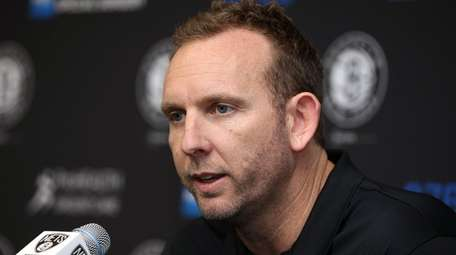 Nets GM Sean Marks talks to media at