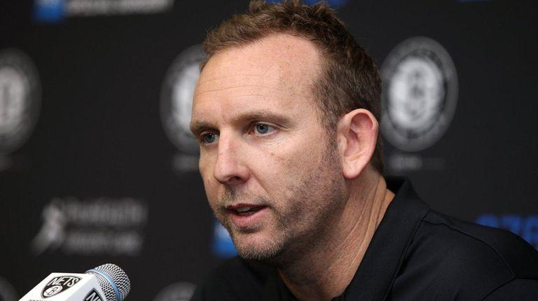 Nets GM Sean Marks talks to media at