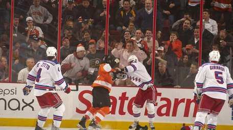 New York Rangers Marian Gaborik (10) during fight