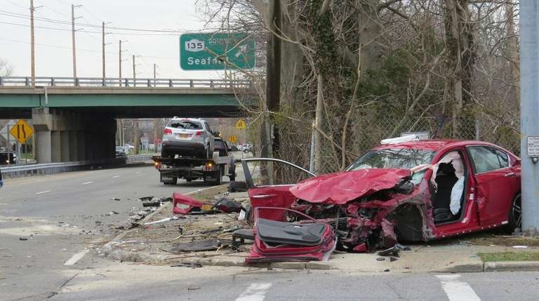 A two-vehicle crash near Old Post and Hicksville