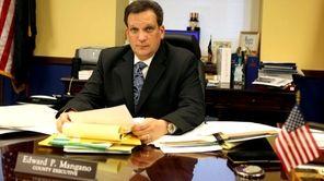 Nassau County Executive Edward Mangano prepares for the